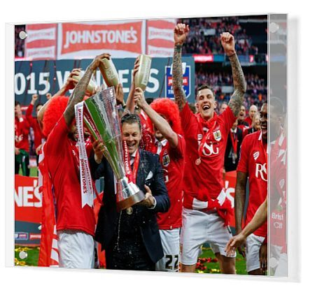 Mark Little and Luke Ayling pour champagne over Bristol City Manager Steve Cotterill as he lifts the Football League Trophy after thay win the match 2-0 - Photo mandatory by-line: Rogan Thomson/JMP - - 22/03/2015 - SPORT - FOOTBALL - London