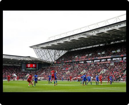 General View as Bailey Wright of Bristol City and Jonathan Grounds of Birmingham City compete for the ball - Rogan Thomson/JMP - 07/05/2017 - Ashton Gate Stadium - Bristol, England - Bristol City v Birmingham City - Sky Bet Championship