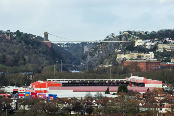 A general view of Bristol City's Ashton Gate Stadium with the Clifton Suspension Bridge seen in the background - Photo mandatory by-line: Rogan Thomson/JMP - Tel: Mobile: - 04/12/2012 - SPORT - FOOTBALL - Ashton Gate Stadium - Bristol