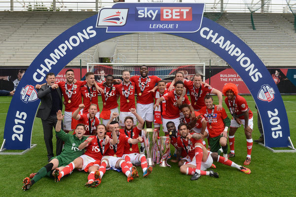 Bristol City celebrate with the Johnstone Paint Trophy and Sky Bet League One trophy - Photo mandatory by-line: Dougie Allward/JMP -03/05/2015 - SPORT - Football - Bristol - Ashton Gate - Bristol City v Walsall - Sky Bet League One