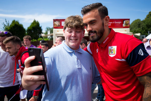 Marlon Pack of Bristol City has a photo with fans - Rogan/JMP - 09/07/2017 - The Creek - Bristol, England - Bristol Manor Farm v Bristol City - Pre-season Friendly