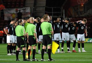 Bristol City Players line up for a minutes