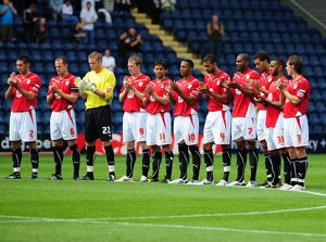 Bristol City players during minutes applause