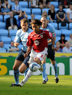 City new signing Alvaro Saborio takes on the Coventry defence