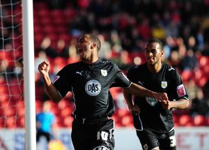 Nicky Maynard celebrates scoring the opening goal for Bristol City